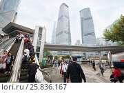 Купить «SHANGHAI - NOV 6, 2015: Tourists on elevator and skyscrapers, Pier, number of tourists visiting country, China ranks third in world», фото № 25836167, снято 6 ноября 2015 г. (c) Losevsky Pavel / Фотобанк Лори