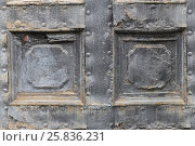 Купить «Metal vintage door with peeling paint and with relief in form of rectangle, closeup», фото № 25836231, снято 9 марта 2015 г. (c) Losevsky Pavel / Фотобанк Лори