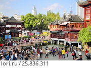 Купить «SHANGHAI, CHINA - NOV 6, 2015: Many tourists on Bridge 9 turns in Yuyuan Garden, Today occupies an area of 2 hectares», фото № 25836311, снято 6 ноября 2015 г. (c) Losevsky Pavel / Фотобанк Лори