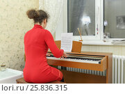 Купить «Young woman in red knitted dress plays on synthesizer in his room, back view, focus on synthesizer», фото № 25836315, снято 9 марта 2015 г. (c) Losevsky Pavel / Фотобанк Лори