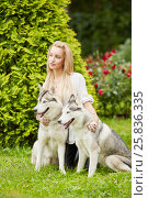 Купить «Young blond woman with two dogs Husky on grass in summer park», фото № 25836335, снято 23 июля 2015 г. (c) Losevsky Pavel / Фотобанк Лори