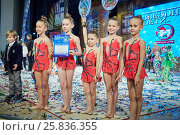 Купить «RUSSIA, KRASNOGORSK - DEC 12, 2014: Group of girls gymnasts Box of Pencils stands on on the stage in the House of Moscow Oblast Government with a diploma and a the cup of Moscow open all-russia festival Star Children», фото № 25836355, снято 12 декабря 2014 г. (c) Losevsky Pavel / Фотобанк Лори