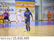 Купить «MYTISHCHI, RUSSIA - OCT 16, 2014: Players on the field on the Russian Futsal Super League in the Sports Complex Construction in Mytishchi», фото № 25836499, снято 16 октября 2014 г. (c) Losevsky Pavel / Фотобанк Лори