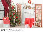 Купить «Christmas interior with Christmas tree, fireplace, gift boxes, candlesticks and bookcases», фото № 25836843, снято 14 декабря 2014 г. (c) Losevsky Pavel / Фотобанк Лори
