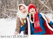 Купить «Teenage girl with shawl on head and boy stand laughing in winter park», фото № 25836847, снято 25 января 2015 г. (c) Losevsky Pavel / Фотобанк Лори
