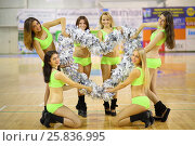 Купить «Six cheerleaders made a figure in the form of heart from silvery pompons in the gym», фото № 25836995, снято 16 октября 2014 г. (c) Losevsky Pavel / Фотобанк Лори