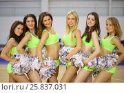 Купить «Portrait of six beautiful cheerleaders with silvery pompons in the gym», фото № 25837031, снято 16 октября 2014 г. (c) Losevsky Pavel / Фотобанк Лори