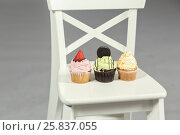 Купить «Three cakes: with strawberries, cookies, whipped cream stand on white chair», фото № 25837055, снято 14 декабря 2014 г. (c) Losevsky Pavel / Фотобанк Лори