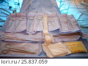 Купить «Surgical instruments prepared for operation on the table», фото № 25837059, снято 28 апреля 2015 г. (c) Losevsky Pavel / Фотобанк Лори
