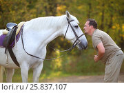 Купить «Happy man prepares for kiss of beautiful white horse in autumn sunny park», фото № 25837107, снято 24 сентября 2015 г. (c) Losevsky Pavel / Фотобанк Лори