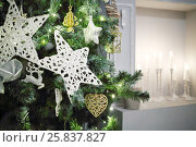Купить «Fireplace with candles and green christmas trees with stars in studio», фото № 25837827, снято 24 декабря 2014 г. (c) Losevsky Pavel / Фотобанк Лори