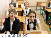 Купить «Three boys and four girls in classroom sitting at desk in classroom, look at camera, raise their hands up to answer, focus on boy and girl in foreground», фото № 25838067, снято 20 марта 2015 г. (c) Losevsky Pavel / Фотобанк Лори