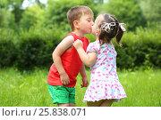 Купить «Little girl and boy kiss on fresh green grass in summer sunny park», фото № 25838071, снято 24 июня 2015 г. (c) Losevsky Pavel / Фотобанк Лори
