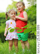 Купить «Little pretty girl and handsome boy hold lollipops in summer park», фото № 25838099, снято 24 июня 2015 г. (c) Losevsky Pavel / Фотобанк Лори