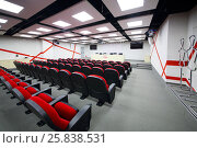 Купить «MOSCOW - DEC 25, 2014: Empty meeting room for press conferences in Spartak stadium. New stadium is included in list of objects for games will be played at 2018 World Cup», фото № 25838531, снято 25 декабря 2014 г. (c) Losevsky Pavel / Фотобанк Лори