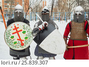 Купить «RUSSIA, MOSCOW - DEC 28, 2014: Warriors dressed in defensive equipment before battle during Military History maneuvers on Taganka», фото № 25839307, снято 28 декабря 2014 г. (c) Losevsky Pavel / Фотобанк Лори