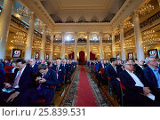Купить «MOSCOW, RUSSIA - APR 23, 2016: Participants of 8th congress of A Just Russia political party in Union House column hall», фото № 25839531, снято 23 апреля 2016 г. (c) Losevsky Pavel / Фотобанк Лори