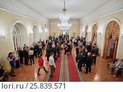 Купить «MOSCOW, RUSSIA - APR 23, 2016: Union House hall with guests and members of A Just Russia political party after meeting at 8th congress», фото № 25839571, снято 23 апреля 2016 г. (c) Losevsky Pavel / Фотобанк Лори