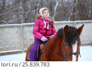 Купить «Portrait of little rider in winter clothes sitting on horseback at the equestrian site in front of trees», фото № 25839783, снято 5 января 2015 г. (c) Losevsky Pavel / Фотобанк Лори