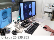 Купить «MRI scan of brain on Monitor in control room and and monitoring patient», фото № 25839835, снято 31 августа 2015 г. (c) Losevsky Pavel / Фотобанк Лори