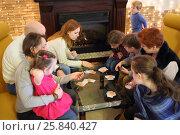 Купить «Company adults and children of nine people playing card game at a table by the fireplace», фото № 25840427, снято 23 февраля 2015 г. (c) Losevsky Pavel / Фотобанк Лори