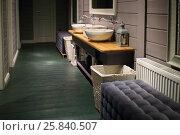 Cozy empty room with retro washbasin in restaurant, wooden floor, walls. Стоковое фото, фотограф Losevsky Pavel / Фотобанк Лори