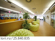 Купить «MOSCOW - JUN 03, 2015: Couches in rest zone of office. Tinkoff Credit Systems is first Russian bank that has completely refused from branch of bank», фото № 25840835, снято 3 июня 2015 г. (c) Losevsky Pavel / Фотобанк Лори