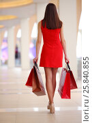 Купить «Beautiful girl in dress goes with bags in shopping center, back view», фото № 25840855, снято 21 апреля 2015 г. (c) Losevsky Pavel / Фотобанк Лори