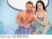 Купить «Portrait of a tanned man and light-skinned woman in pool at the aquapark», фото № 25840923, снято 28 февраля 2015 г. (c) Losevsky Pavel / Фотобанк Лори