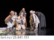 Купить «MOSCOW, RUSSIA - JAN 15, 2015: Group of children and God fool on square in front od Cathedral on stage of Moscow theatre Et Cetera in play Boris Godunov directed by Peter Stein», фото № 25841151, снято 15 января 2015 г. (c) Losevsky Pavel / Фотобанк Лори