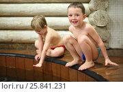 Купить «Two happy little boys sitting near the wooden pool in the sauna», фото № 25841231, снято 28 февраля 2015 г. (c) Losevsky Pavel / Фотобанк Лори