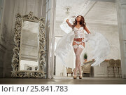 Купить «Young woman in white underwear, stockings and angel wings behind her back in room, low angle view », фото № 25841783, снято 10 июня 2016 г. (c) Losevsky Pavel / Фотобанк Лори