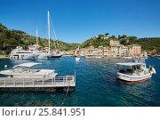 Купить «View of Portofino in Liguria, famous Mediterranean sea town at the Italian Riviera», фото № 25841951, снято 7 августа 2016 г. (c) Losevsky Pavel / Фотобанк Лори