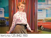 Купить «Beautiful girl in blouse with red lips in bar with art wall», фото № 25842183, снято 18 января 2015 г. (c) Losevsky Pavel / Фотобанк Лори
