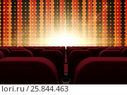 Купить «3d composition of cinema seats facing to screen with abstract background», иллюстрация № 25844463 (c) Wavebreak Media / Фотобанк Лори