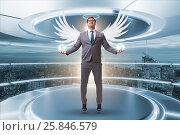Купить «Angel investor concept with businessman with wings», фото № 25846579, снято 20 августа 2018 г. (c) Elnur / Фотобанк Лори