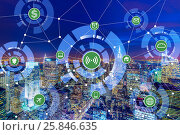 Internet of things concept in the city. Стоковое фото, фотограф Elnur / Фотобанк Лори