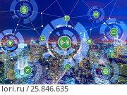 Купить «Internet of things concept in the city», фото № 25846635, снято 17 июля 2018 г. (c) Elnur / Фотобанк Лори