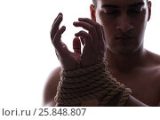 Купить «Sexy man with tied hands», фото № 25848807, снято 15 ноября 2016 г. (c) Elnur / Фотобанк Лори