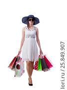 Купить «Young woman with christmas shopping bags on white», фото № 25849907, снято 20 июня 2016 г. (c) Elnur / Фотобанк Лори