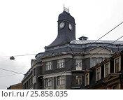 Купить «Riga, Terbatas 14, clock tower, Art Nouveau 1909 year», фото № 25858035, снято 21 февраля 2017 г. (c) Andrejs Vareniks / Фотобанк Лори