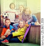 Купить «Group of children portrait with ball and skateboard», фото № 25861359, снято 23 марта 2018 г. (c) Яков Филимонов / Фотобанк Лори