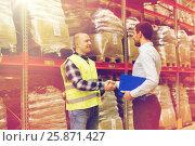 Купить «worker and businessmen with clipboard at warehouse», фото № 25871427, снято 9 декабря 2015 г. (c) Syda Productions / Фотобанк Лори