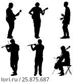 Купить «Silhouettes street musicians playing instruments. illustration», иллюстрация № 25875687 (c) Фотограф / Фотобанк Лори