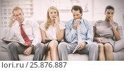 Купить «Nervous executives waiting for interview», фото № 25876887, снято 19 августа 2018 г. (c) Wavebreak Media / Фотобанк Лори