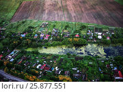 Купить «Aerial photo of agricultural russian village», фото № 25877551, снято 20 июля 2018 г. (c) Ирина Мойсеева / Фотобанк Лори
