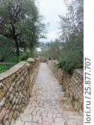 Jerusalem, Israel. - February 14.2017. The territory of Gorny Convent - stairs. Стоковое фото, фотограф Владимир Петров / Фотобанк Лори