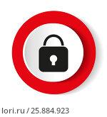 Купить «Lock icon. Red glossy circle web icon on white background», иллюстрация № 25884923 (c) Наталия Попова / Фотобанк Лори