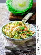 Cabbage salad cole slaw in a ceramic bowl. Стоковое фото, фотограф Зоряна Ивченко / Фотобанк Лори