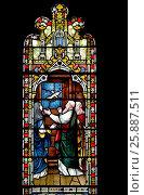 Купить «Faversham, Kent, England. St Mary of Charity parish church. Stained glass window: Noah welcoming the dove back to the ark with an olive branch.», фото № 25887511, снято 6 февраля 2017 г. (c) age Fotostock / Фотобанк Лори
